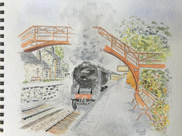 Goathland Station and steam train watercolour